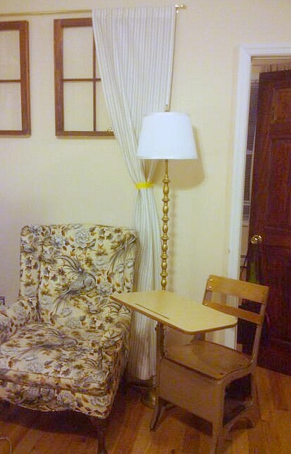 Gold Peir 1 Floor lamp with White IKEA lamp shade