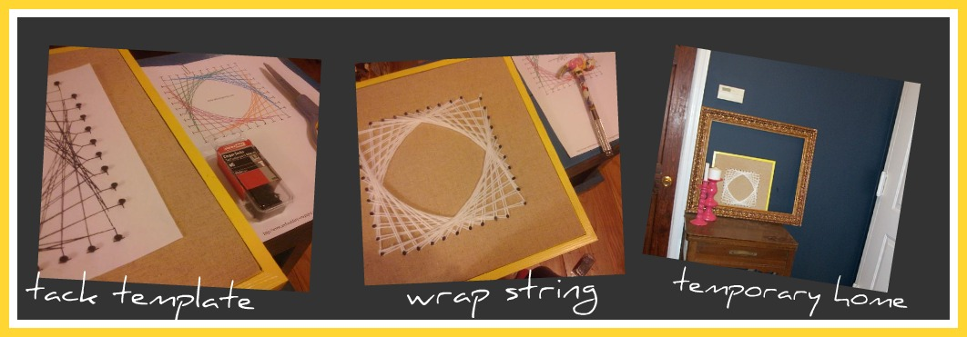 collage of string art process