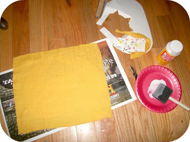 modge podge gluing fabric