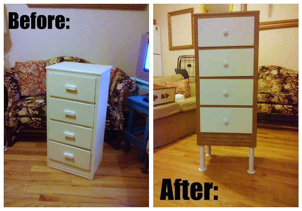 Before and after of street find dresser.