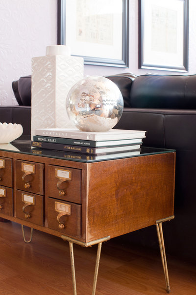 Card catalog turned console table on Style by Emily Henderson